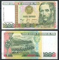 Picture of Перу 1988 г. P# 136 • 1000 интис • Цезарь Вальехо • регулярный выпуск • UNC пресс