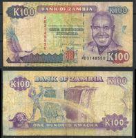 """Image de Замбия 1991 г. P# 34 • 100 квача • водопад """"Виктория"""" • регулярный выпуск • F+"""