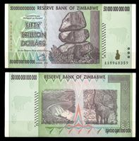 Изображение Зимбабве 2008 г. P# 90 • 50 триллионов долларов • слон в лесу • регулярный выпуск • UNC пресс