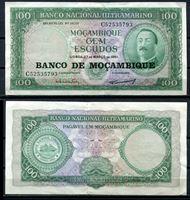 """Image de Мозамбик 1961 г. (1976) P# 117 • 100 эскудо • надпечатка """"Банк Мозамбика"""" • регулярный выпуск • UNC-"""
