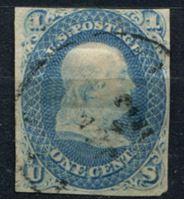 Image de США 1861 г. SC# 63 • 1c. Бенджамин Франклин • Used G ( кат.- $50 )