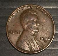 """Изображение США 1942 г. D • KM# 132 • 1 цент • """"пшеничный"""" • регулярный выпуск • VF"""