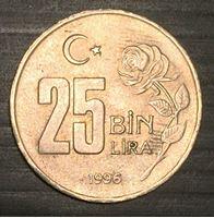 Изображение Турция 1996 г. • KM# 1041 • 25 тыс.(бин) лир • Ататюрк • регулярный выпуск • MS BU