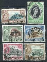 Изображение Кипр 1953-60 гг. Gb# 172..183 • Елизавета II основной выпуск • 6 марок • Used VF