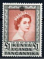 Изображение Кения, Уганда и Танганьика 1954-9 гг. Gb# 180 • 1 £. Елизавета II (концовка серии) • MLH OG XF ( кат.- £20 )