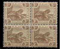 Изображение Малайя Федеративные штаты 1904-22 гг. Gb# 33 • 3c. тигр • MNH OG XF • кв.блок ( кат.- £40 )