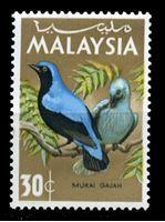 Image de Малайзия 1965 г. Gb# 21 • 30c. синяя птица-фея • MLH OG XF