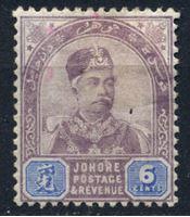 Изображение Малайя • Джохор 1891-94 гг. Gb# 26 • 6c. султан Абубакар • MLH OG VF- ( кат.- £9 )
