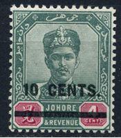 Изображение Малайя • Джохор 1904 г. Gb# 59 • 10c. на 4c. надпечатка нового номинала • MH OG XF ( кат.- £10 )