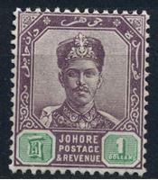 Изображение Малайя • Джохор 1896-9 гг. Gb# 49 • 1$. султан Ибрагим • MLH OG XF ( кат.- £35 )