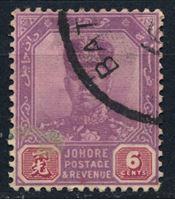 Image de Малайя •   Джохор 1922-41 гг. Gb# 110 • 6c. султан Ибрагим • Used XF ( кат.- £1 )