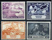 Изображение Малайя • Кедах 1949 г. Gb# 72-5 • 75-летие ВПС(UPU) • (4 марки) • MLH OG XF • полн. серия ( кат.- £4 )