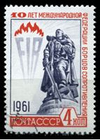 Picture of СССР 1961г. Сол# 2629 • 10-летие Федерации борцов сопротивления (FIR) • 4 коп. • Used(ФГ) XF