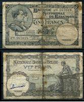 Image de Бельгия 1938 г. P# 108 • 5 франков • регулярный выпуск • VG