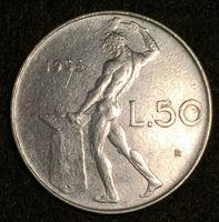 Изображение Италия 1955 г. • KM# 95.1 • 50 лир • регулярный выпуск • AU+ ( кат.- $20,00 )