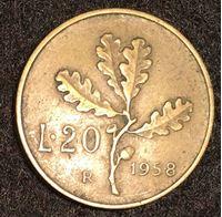 Изображение Италия 1958 г. • KM# 97.1 • 20 лир • регулярный выпуск • XF ( кат.- $5,00 )