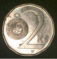 Изображение Чехия 2002 г. • KM# 9 • 2 кроны • (первый год чеканки типа) • регулярный выпуск • UNC-