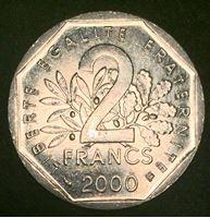 Изображение Франция 2000 г. • KM# 942.1 • 2 франка • регулярный выпуск • MS BU люкс!