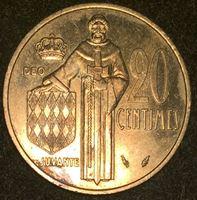 Изображение Монако 1979 г. • KM# 143 • 20 сантимов • Принц Ренье III • регулярный выпуск • BU