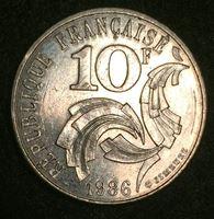 """Изображение Франция 1986 г. • KM# 959 • 10 франков • """"Мадам Республика"""" • регулярный выпуск • MS BU ( кат.- $15,00 )"""