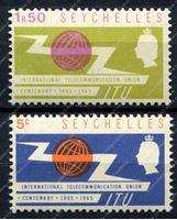 Изображение Сейшелы 1965г. GB# 218-9 • Всемирный телекоммуникационный союз • MNH OG VF • полн. серия