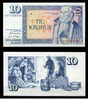 Изображение  Исландия 1961 г. (1981) P# 48 • 10 крон • Арнгримур Йоунссон • регулярный выпуск • UNC пресс