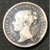 Изображение Великобритания 1878 г. • KM# 730 • 3 пенса • Королева Виктория (серебро) • регулярный выпуск • VF-