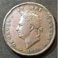 Изображение Великобритания 1826 г. • KM# 693 • пенни • Георг IV • регулярный выпуск • F-