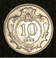 Image de Австрия 1909 г. KM# 2802 • 10 геллеров • регулярный выпуск • XF+
