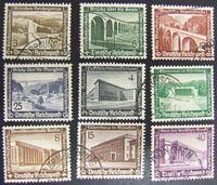 Изображение Германия 3-й рейх 1936 г. Mi# 634-642 • Новые здания и сооружения. Полн. серия • благотворительный выпуск • Used XF