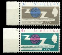 Изображение Святой Елены о-в 1965 г. Gb# 197-8 • 100-летие ВТС(ITU) • MNH OG XF+ • полн. серия
