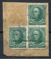 Image de США 1895 г. SC# 273 • 10c. • президент Дэниель Уэбстер • Used VF • сцепка 3м. • вырезка ( кат.- $10 )