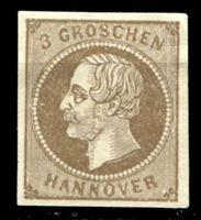 Picture of Ганновер 1861 г. Mi# 19a • 3 gr. • король Георг V • MH OG F ( кат.- €35 )