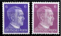 Изображение Германия 3-й рейх 1941-44 гг. Mi# 785 • 6 pf.(2) • Адольф Гитлер (фиолетовая и лиловая) • стандарт • MH OG XF ( кат.- €1 )