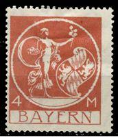 Изображение Германия 1920-21 гг. Mi# 135 III • 4 M. • без надпечатки! редкая! • MLH OG VF ( кат.- €70 )