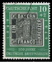 Изображение Германия ФРГ 1949 г. Mi# 113 • 10 + 2 pf. • 100-летие первых немецких почтовых марок • Used XF ( кат.- €30 )
