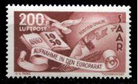 Изображение Саар 1950 г. • Mi# 298 • 200 fr. • Принятие Саара в Совет Европы • авиапочта • MLH OG XF ( кат.- €180 )