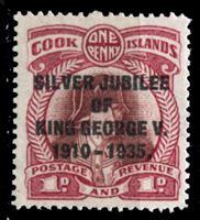 Изображение Кука о-ва 1935 г. Gb# 113 • 25 лет правления Георга V • 1 d. • надпечатка • MNH OG XF
