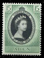 Изображение Аден 1953 г. Gb# 28 • Коронация Елизаветы II • 15 c. • MNH OG XF
