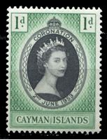 Изображение Каймановы о-ва 1953 г. Gb# 162 • Коронация Елизаветы II • 1 d. • MNH OG XF