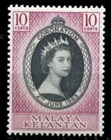 Изображение Малайя •   Келантан 1953 г. Gb# 82 • Коронация Елизаветы II • 10 c. • MNH OG XF ( кат.- £1,5 )