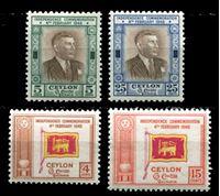 Изображение Цейлон 1949 г. Gb# 406-9 • 4 - 25c. • 1-я годовщина независимости • MNH OG XF • полн. серия