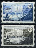 Изображение Сен-Пьер и Микелон 1955-6 гг. SC# 346-7 • 0,30 и 0,50 fr. • Завод по переработке рыбы • MLH OG VF ( кат.- $1,3 )