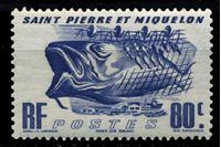 Изображение Сен-Пьер и Микелон 1947 г. Iv# 330 • 0,80 fr. • Промысловые рыбы • MLH OG XF ( кат.- €1,2 )