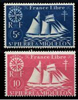Изображение Сен-Пьер и Микелон 1942 г. Iv# 296-7 • 5 и 10 c. • Парусник • MLH OG VF ( кат.- €0,6 )