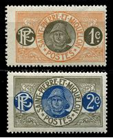 Изображение Сен-Пьер и Микелон 1909-7 гг. Iv# 78-9 • 1 и 2 c. • Моряк • MLH OG VF ( кат.- €0,6 )