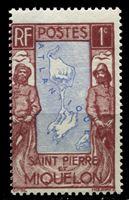 Изображение Сен-Пьер и Микелон 1932-33 гг. Iv# 136 • 1 c. • Карта островов (осн. выпуск) • MNH OG VF
