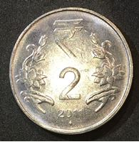 Изображение Индия 2011 г. • KM# 395 • 2 рупии • новый символ рупии • регулярный выпуск • MS BU