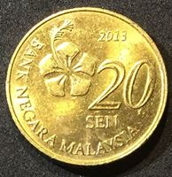 Изображение Малайзия 2013 г. • 20 центов • регулярный выпуск • BU