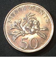 Bild von Сингапур 1988 г. KM# 53.1 • 50 центов • герб Сингапура • орхидеи • регулярный выпуск • MS BU